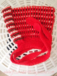 the red knitted bonnet I wore as a small child at Flushed with Rosy Colour