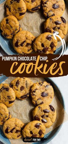 Kick off your fall baking with this pumpkin recipe! A small batch makes the perfect dessert for two. Whether loaded with chocolate chunks or chocolate chips, these soft and chewy pumpkin cookies are so good! Easy Chocolate Desserts, Pumpkin Chocolate Chip Cookies, Fall Desserts, Cookie Desserts, Easy Cookie Recipes, Pumpkin Recipes, Baking Recipes, Dessert Recipes, Dessert For Two