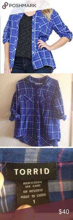Blue & Pink Plaid Peplum Back Shirt Like new condition. Torrid Button up with peplum back. Size 1. Sleeves can be rolled up and buttoned. Super cute. Don't be afraid to make me an offer, I almost always accept! torrid Tops Button Down Shirts