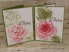 by Jan: Rose Wonder, Gorgeous Grunge, Rose Garden Thinlits, sponges - all from Stampin' Up! Birthday Cards For Women, Stamping Up Cards, Scrapbooking, Sympathy Cards, Flower Cards, Cute Cards, Greeting Cards Handmade, Homemade Cards, Making Ideas
