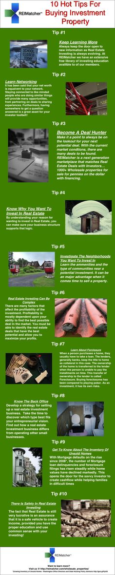 10 Tips For Real Estate Investing.  http://reimatcher.com/wholesale_properties.  www.EyemarkRealty.com, www.GainesvilleFloridaHomes.com, and www.AmericaUSARealEstate.com real estate investing, investing in real estate