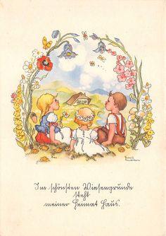 AK Kinder mit Blumen sitzen auf die Wiese Künstlerkarte Liesel Lauterborn | eBay