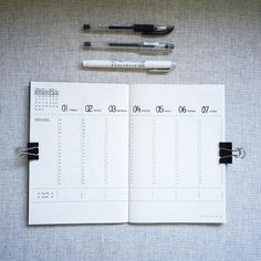 Bullet journal weekly layout, vertical dailies, vertical timelines.   @nitly.sketching