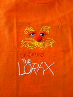 My own DIY copycat version of Lorax t shirt for Dr Seuss Character day at school! Puffy paint, google eyes, and Pom Pom nose....super easy!!!