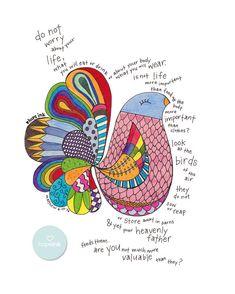 Scripture Art, Hand Drawn Bird Illustration, Do Not Worry (11x14)