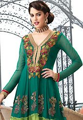 Ultimate collection of embroidered suits with fabulous style. The dazzling dark green and light green faux georgette churidar suit have amazing embroidery patch work is done with resham, zari and stone work. Beautiful embroidery work on kameez is stunning. The entire ensemble makes an excellent wear. Matching santoon churidar and chiffon dupatta is available with this suit. Slight Color variations are possible due to differing screen and photograph resolutions.