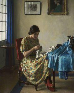 Harold Knight (English 1874-1961) Sewing, 1924