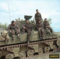 The crew of a Sherman tank named 'Akilla' of Nottinghamshire Yeomanry, Armoured Brigade, after having destroyed 5 German tanks in a day. Rauray, 30 June Left to right: Sgt J Dring; Tpr E Bennett; L/Cpl S Gould. D Day Normandy, Ww2 Pictures, Ww2 Photos, Sherman Tank, Ww2 Tanks, British Army, British Tanks, Panzer, Military History