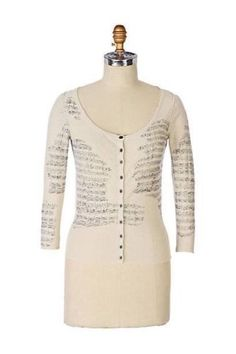 RARE Anthropologie Sight Reading Cardigan Sweater Top Music Notes Guinevere  8 M 237e7097a