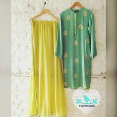 Summer By Priyanka Gupta. Indian Dress Up, Indian Attire, Indian Wear, Kurta Designs Women, Blouse Designs, Henna Designs, Pakistani Outfits, Indian Outfits, Desi Clothes