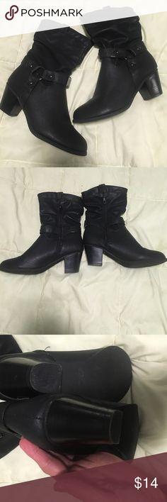Black Moto heeled ankle boots The boots are in excellent shape has a few scuff marks on that heals but not noticeable when wearing. Has zipper on inside and has adorable  silver Decour. Reneeze Shoes Ankle Boots & Booties