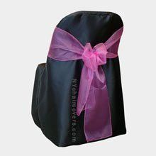 Black Folding Chair Covers (Set of 10). Chair Sash Not Included. Great for Weddings and Events. Make Your Next Party or Banq