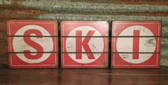Large Ski Triptych Handcrafted Rustic Wood Signs by AlpineGraphics