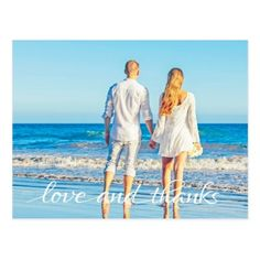 Simple Ocean Beach Couple Love and Thanks Postcard - spring wedding diy marriage customize personalize couple idea individuel