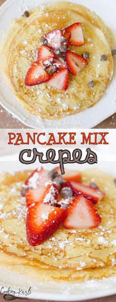 Easy Pancake Mix Crepes are thin and irresistible! Made from pancake mix, milk, an egg and vanilla.