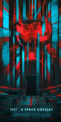 """2001: A Space Odyssey"" by Jordan Buckner.  12"" x 24"" Giclee.  Ed of 100 N."