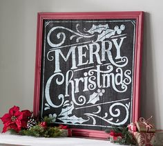 Merry Christmas Chalkboard Sign Wall Art | Pottery Barn