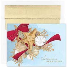 MyCards4Less - Shell Swag Tropical Christmas Cards, $14.40 (http://www.mycards4less.com/tropical-beach-christmas-cards/shell-swag-tropical-beach-holiday-cards/)