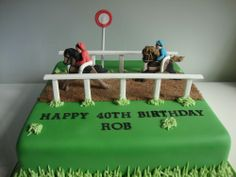 Horse Racing Cake likes slot with a hurdle! Too teir! Bottom teir exotic dancer colours!