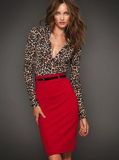 Love it , leopard and red. Although I'd probably have to button the top a smidge more to be work appropriate