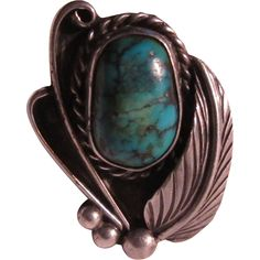 Native American Silver Turquoise Ring Size 8