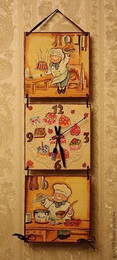 """Часы для дома ручной работы. Ярмарка Мастеров - ручная работа. Купить Часы-панно кухонные """"Веселый кондитер"""". Handmade. Бежевый Clock Art, Diy Clock, Decoupage Art, Decoupage Vintage, Wood Projects, Craft Projects, Kitchen Artwork, Diy Arts And Crafts, Craft Sale"""