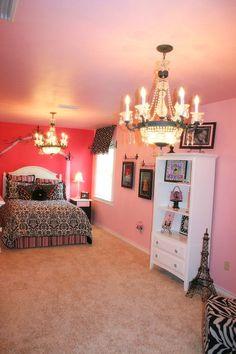 Paris room. love the chandelier