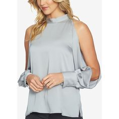 1.state Cold-Shoulder Blouson-Sleve Blouse ($67) ❤ liked on Polyvore featuring tops, blouses, moon dust, cut out blouse, cold shoulder cut out tops, cut-out shoulder tops, mock neck top and open shoulder blouse