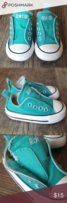 273794da44f0 Infant Baby Converse All Stars No Lace Velcro Worn but in good condition.  Teal baby