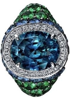 Robert Procop Sapphire, Diamond & Tsavorite Cocktail Ring - ep <3