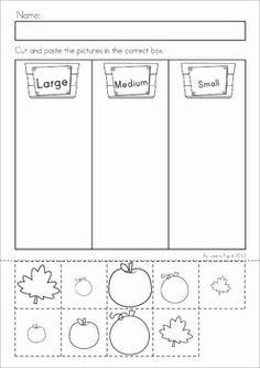Autumn / Fall Math Worksheets & Activities - (Kindergarten). 52 pages. A page from the unit: large, medium and small cut and paste sort (pumpkins, leaves and apples)