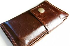 Leather iPhone Wallet in Dark Brown by RobbieMoto on Etsy, $52.00