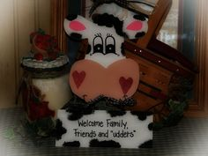 COWS Welcome Sign Cow Country Wall Kitchen Door Decor. $9.00, via Etsy.