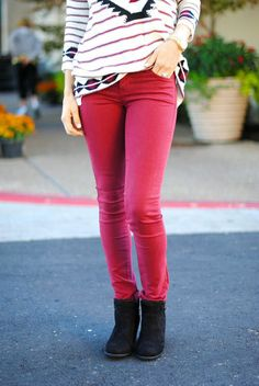 """BUY IT RIGHT HERE! Comment """"sold, your size and email"""" to get an invoice right to your inbox! Camela Skinny Jeans in Burgundy Price: $38.00, Free Shipping Options: 24, 25, 26, 27, 28, 29, 30, 31 Model is wearing size 26. She regularly wears a 26, and thinks these fit very true to size. Made from 69% cotton, 29% polyester, 2% spandex. These are slightly long on Kristen to where they scrunch a little at the ankle. She is 5'8."""