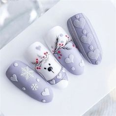 More than 150 more fashionable nail design ideas you deserve – Page 2 of 151 – Inspiration Diary – Nails Xmas Nails, Holiday Nails, Christmas Nails, Winter Nail Art, Winter Nails, Toe Nail Art, Acrylic Nails, Coffin Nails, Nail Nail