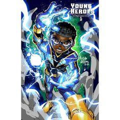 Lots of stuff going on, but felt like some Young Heroe Black Cartoon Characters, Superhero Characters, Black Lightning Static Shock, Black Comics, Dc Comics, A Level Art Sketchbook, Dc Icons, Chibi, Dope Cartoon Art