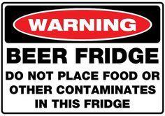 Beer Fridge Sticker 300mm x 210mm no contaminates