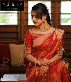 Elegant Designer Red Wedding Sari CLICK Visit link above for more info Pattu Saree Blouse Designs, Blouse Designs Silk, Designer Blouse Patterns, Bridal Blouse Designs, Designer Saree Blouses, Blouse Models, Sumo, Saree Styles, Blouse Styles