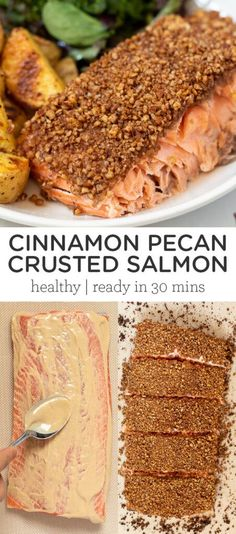 This Cinnamon and Pecan Crusted Salmon is a simple, healthy and easy dinner recipe that takes less than 30 minutes to make. Flavorful, baked in foil for the best texture, only 6 ingredients and seriously delicious! Easy Salmon Recipes, Fish Recipes, Easy Dinner Recipes, Seafood Recipes, Gluten Free Recipes, Healthy Recipes, Pecan Crusted Salmon, Cinnamon Pecans, Salmon Cakes