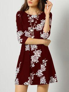 Burgundy Crew Neck Floral Dress