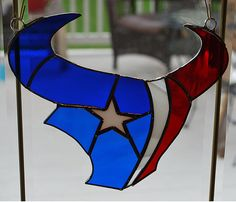Stained glass Houston Texans sun catcher wall by ManemannArt, $30.00