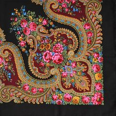 This blossoming flower wool shawl features a fantastic floral design and was made in the famous Pavlovo Posad Shawl Factory. Border Embroidery Designs, Embroidery Art, Antique Prints, Vintage Prints, Durga, Textile Prints, Textile Design, Fabric Patterns, Print Patterns