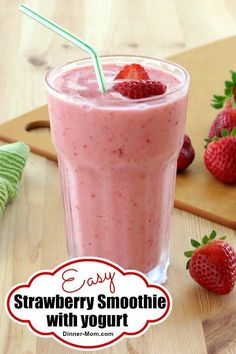 Easy Strawberry Smoothie Recipe with Yogurt so it's healthy! It tastes like Tropical Smoothie Cafe's Strawberry Beach! Easy Strawberry Smoothie Recipe with Yogurt so it's healthy! It tastes like Tropical Smoothie Cafe's Strawberry Beach! Strawberry Yogurt Smoothie, Smoothie Recipes With Yogurt, Smoothie Recipes For Kids, Yogurt Smoothies, Raspberry Smoothie, Easy Smoothies, Yogurt Recipes, Healthy Recipes, Smoothie With Greek Yogurt
