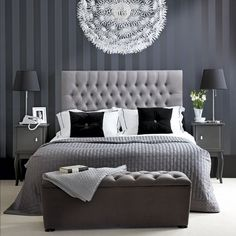 Chic Bedroom Decorate With Black And White For A Beautiful Best Hotel Style Bedrooms Ideas Blue And Grey Bedroom Ideas For Men Or Boys Modern Furniture Design Monochrome Bedroom, White Bedroom Decor, Gray Bedroom, Home Bedroom, Modern Bedroom, Master Bedrooms, Grey Room, Contemporary Bedroom, Silver Bedroom