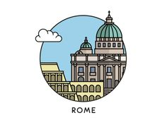 Rome by Taras on Dribbble Rome, City Icon, Insta Icon, Travel Icon, Instagram Highlight Icons, Story Highlights, Cute Stickers, Doodle Art, Bunt