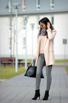 Pastel coat with grey jeans