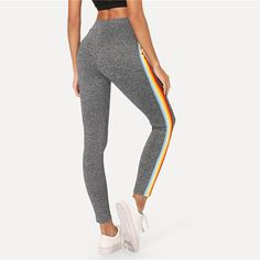 9e55602942d9b Cute Workout Outfit for Summer 2018 - Hot Rainbow Striped Lounge Fashion  Casual Leggings in Grey