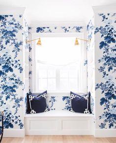 pretty blue wallpaper and window seat