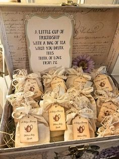 The little party favor bags with tea for guests is such a cute idea for a tea party!! See more party ideas and share yours at CatchMyParty.com #catchmyparty #partyfavor #teaparty