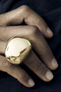 Linhardt large pebble ring 18k gold